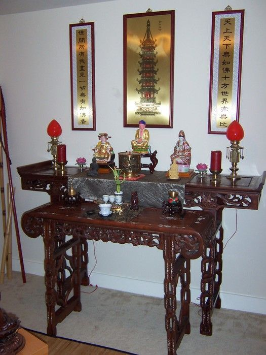Lovely Buddhist Home Altar With Beautiful Rosewood? Or Teak? Two Level Altar  Table