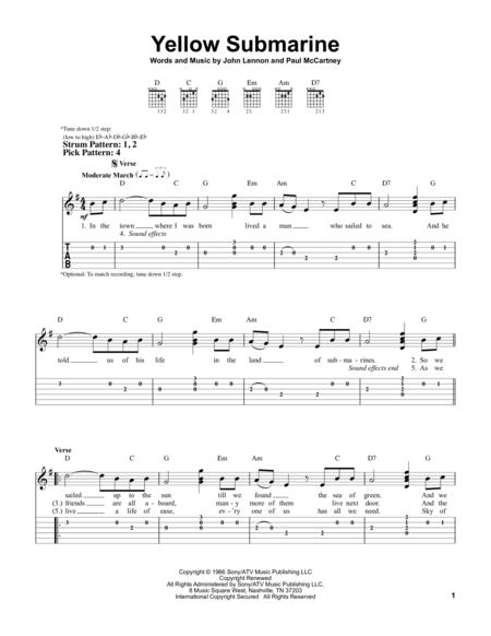 Yellow Submarine Guitarra Tablature Chords Pinterest