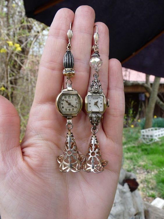 Vintage Uhrenohrringe. Ich habe so viele kaputte Vintage-Uhren in meiner Schmuckschatulle #vintagewatches