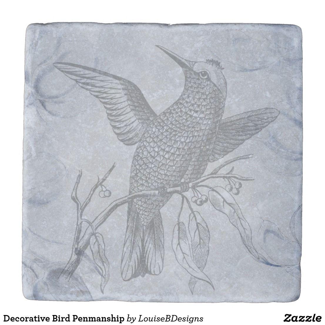 Decorative Bird Penmanship Stone Coaster