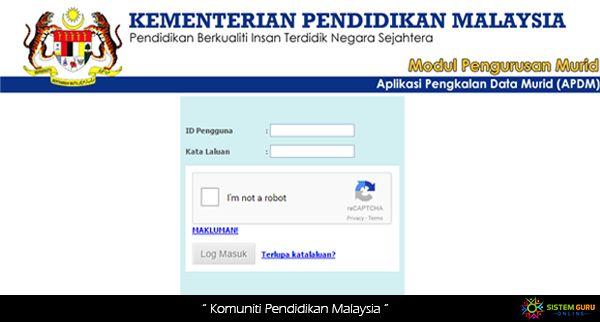 Log In Apdm Kpm Aplikasi Pangkalan Data Murid Online Guru Sekolah Log