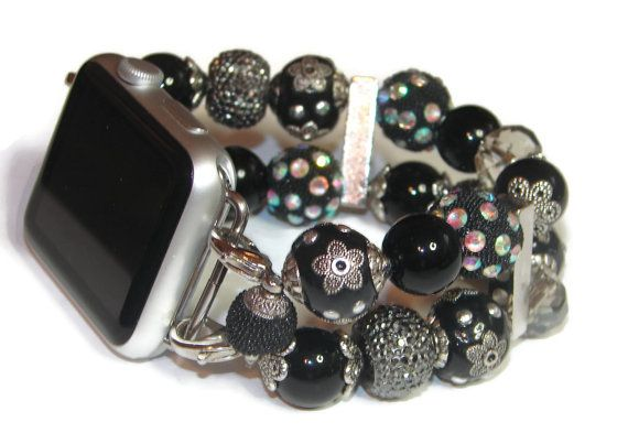 Black Beaded Apple Watch Band Interchangeable Apple By Beadsntime