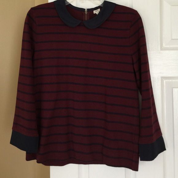 J. CREW sweater size M Used in good condition 24'long , sleeve21'long,has a zipper on the back,100%cotton, trim 100% polyester. Color burgundy-navy J. Crew Sweaters Crew & Scoop Necks