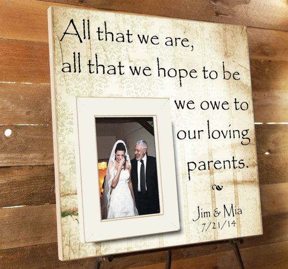 Personalized Picture Frame Parents Thank You Gift Of The Groom Wedding