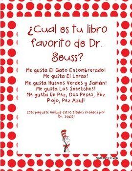949be2aa Dr. Seuss in SPANISH!!! Cat in the Hat - El Gato EnsombreradoThe Lorax - El  LoraxGreen Eggs and Ham - Huevos Verdes y JamonThe Sneetches - Los  SneetchesOne ...