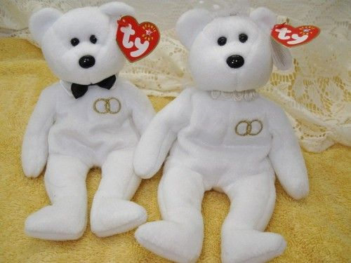 96083dcae0e L  K Ty Mr and Mrs Beanie Baby (2) Anniversary Wedding White w TAGS Mint
