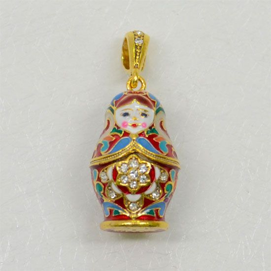 Matryoshka Enamel Russian Doll Pendant Sterling Silver 925 /& Enameled