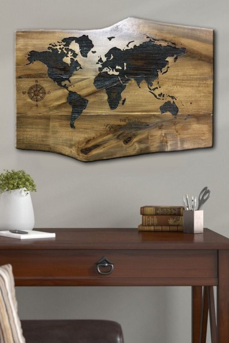 Engraved Wood Slice Carved Wood Wall Panel Wood Map Wall Decor