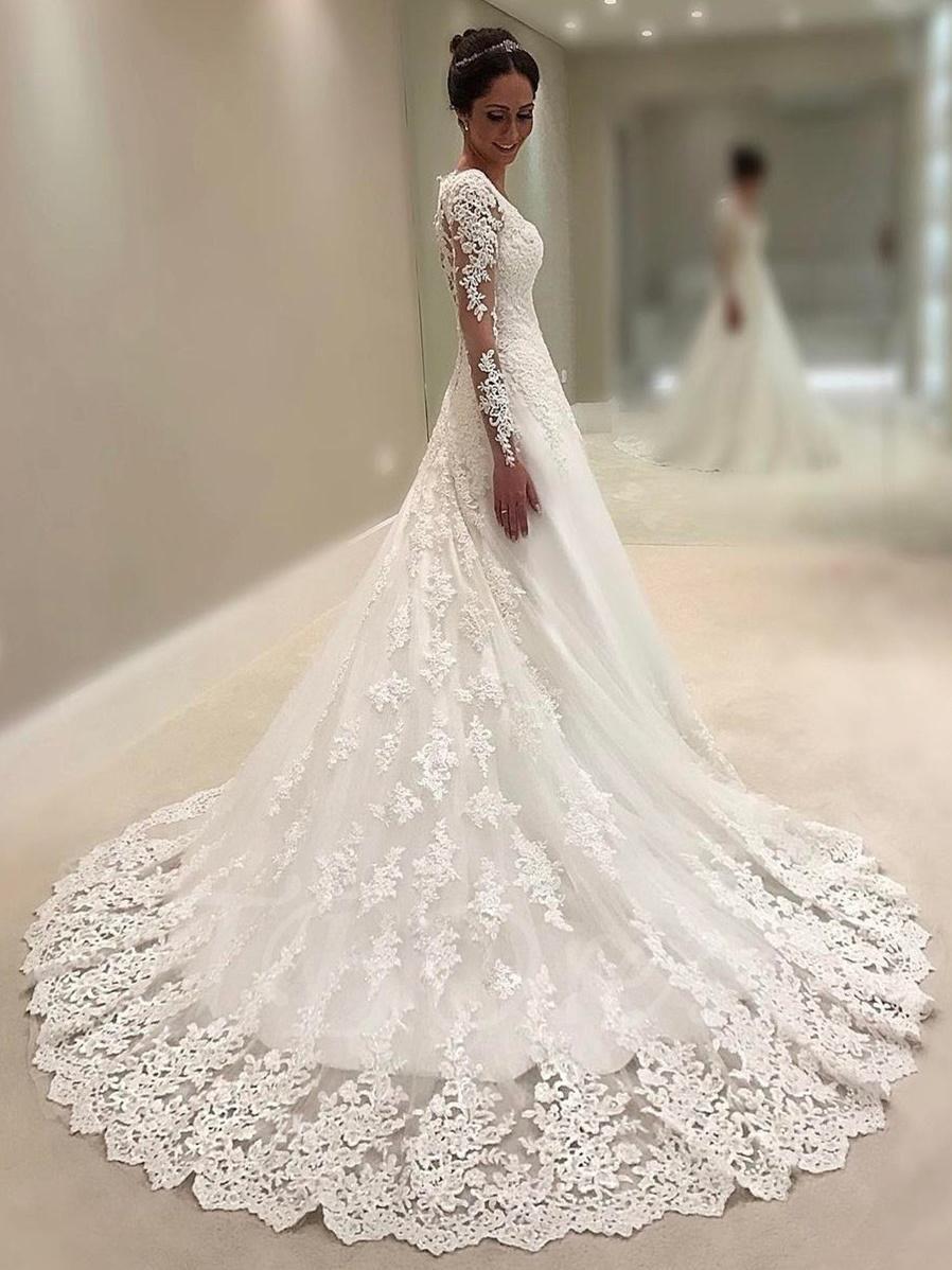 Long sleeves vneck lace wedding dress pinterest lace wedding