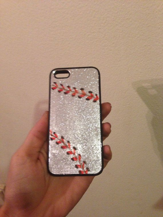 Glittery silver iPhone 5 baseball case on Etsy, $28.00