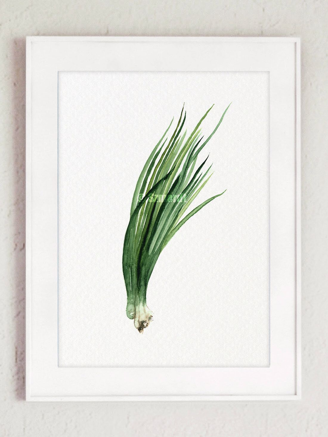 Chives Food Art, Watercolor Painting, Plant Illustration, Kitchen ...