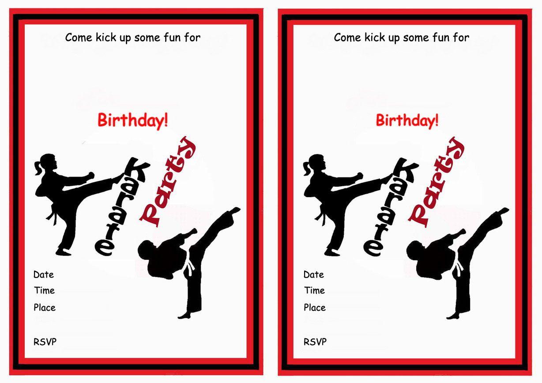 Karate Free Printable Birthday Party Invitations Birthday Party Invitations