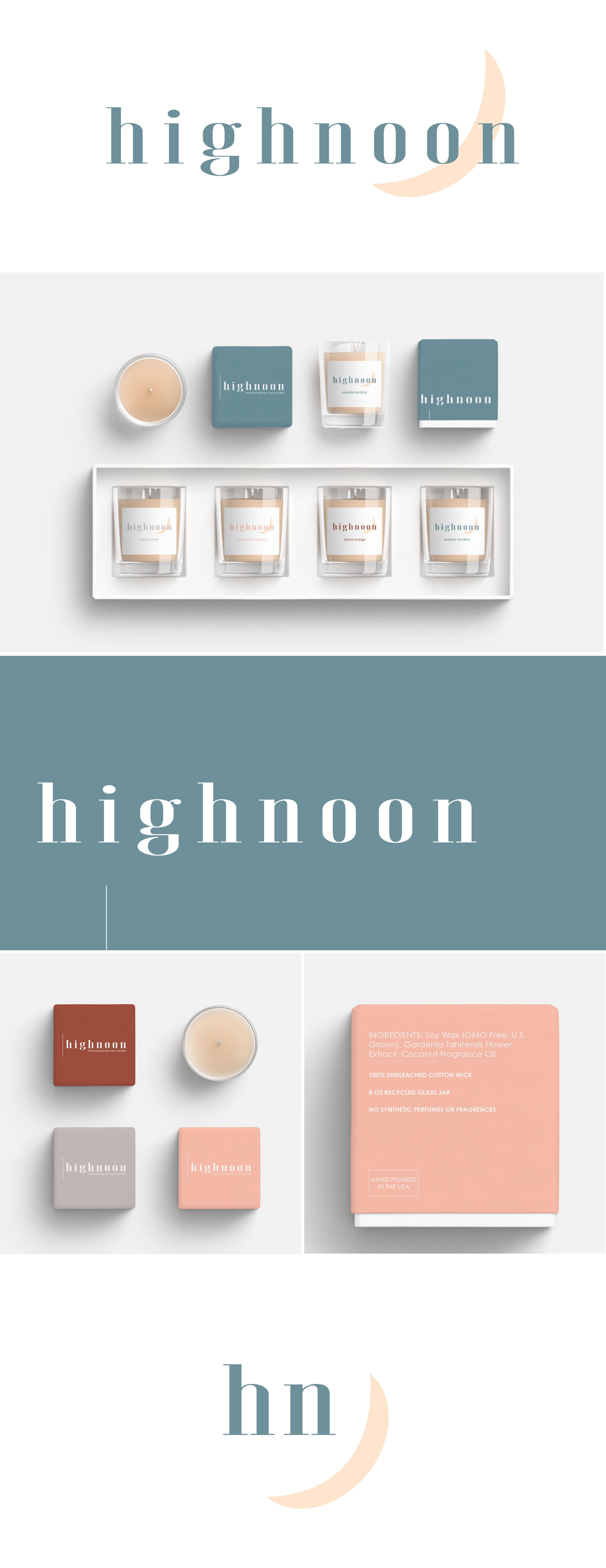 Highnoon Brand Designed By Here Now Creative Co The Design Is Clean And Light This Brand R Candle Packaging Design Candle Packaging Soy Candles Packaging