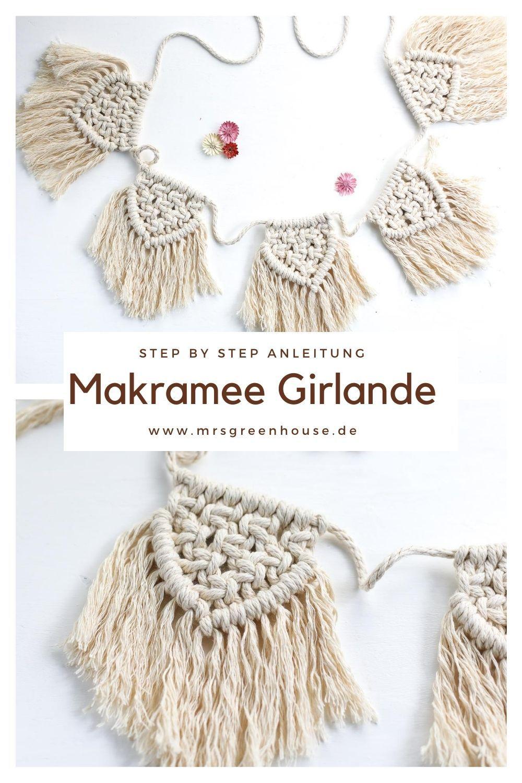 Die einfache Makramee Girlande ist ein perfektes Anfänger Projekt. Die kleinen Makramee-Wimpel können einzeln oder als Girlande verwendet werden. Die Anleitung findest ihr auf meinem Blog www.mrsgreenhouse.de #makramé #makramee #girlande #diy