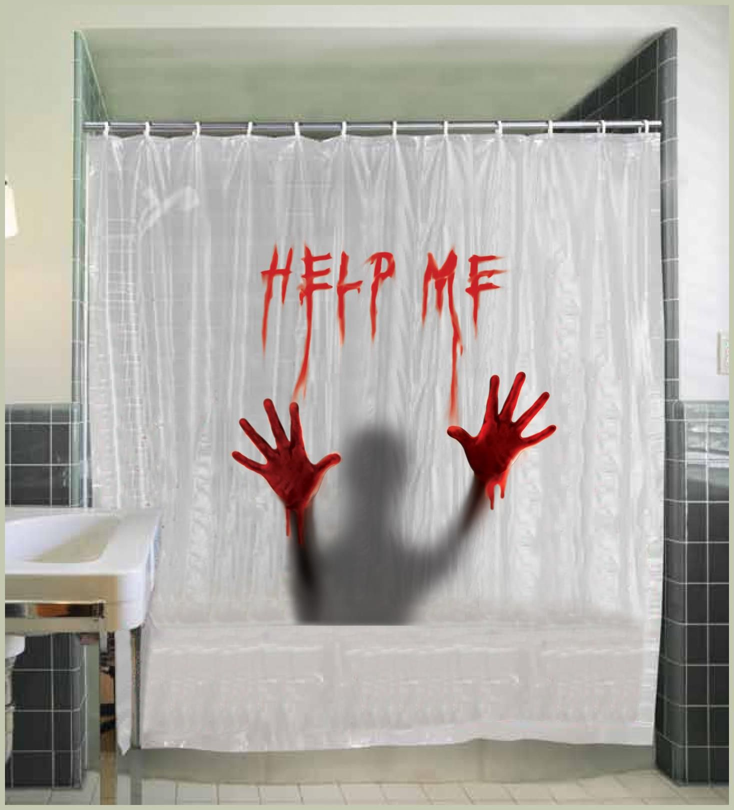 Divinly Beautiful Help Me Shower Curtain Cool Array Of Spooky Horror Backdrop Wall Stickers Add Ons For Halloween At PartyBell