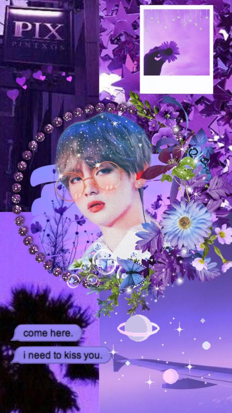 Bts Purple Aesthetic Wallpaper Bts Wallpaper Purple Kimtaehyungc Aesthetic Cr Bngtanluves Seni Ungu Dekor