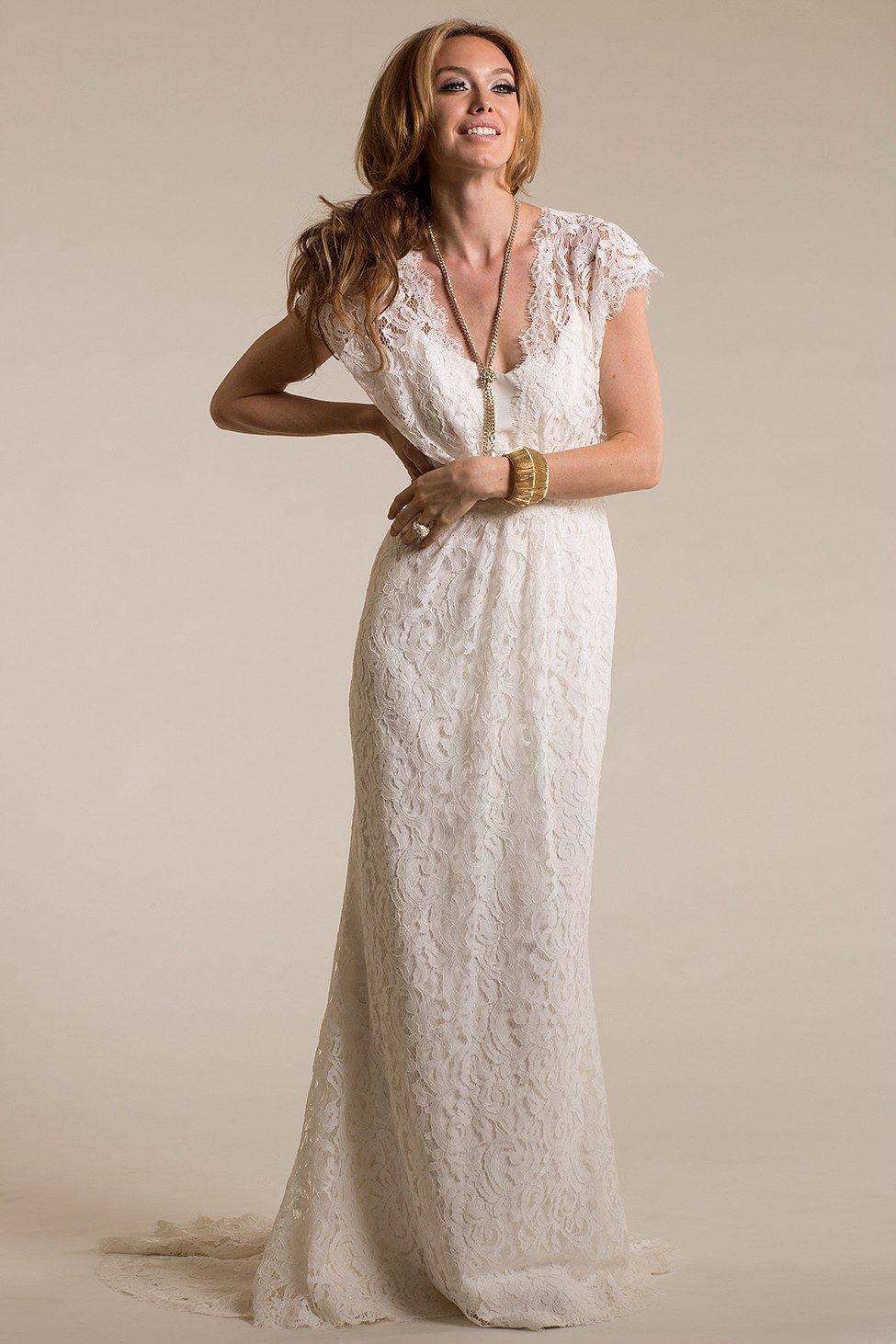 Lace keyhole back wedding dress   Keyhole Back Cap Sleeve Lace Wedding Dress ucenterdress