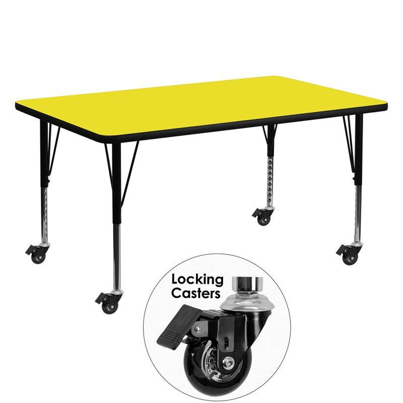 Activity Table With Adjustable Preschool Legs   With A Warp Resistant Top  And Locking Casters, The Flash Furniture Mobile X In.