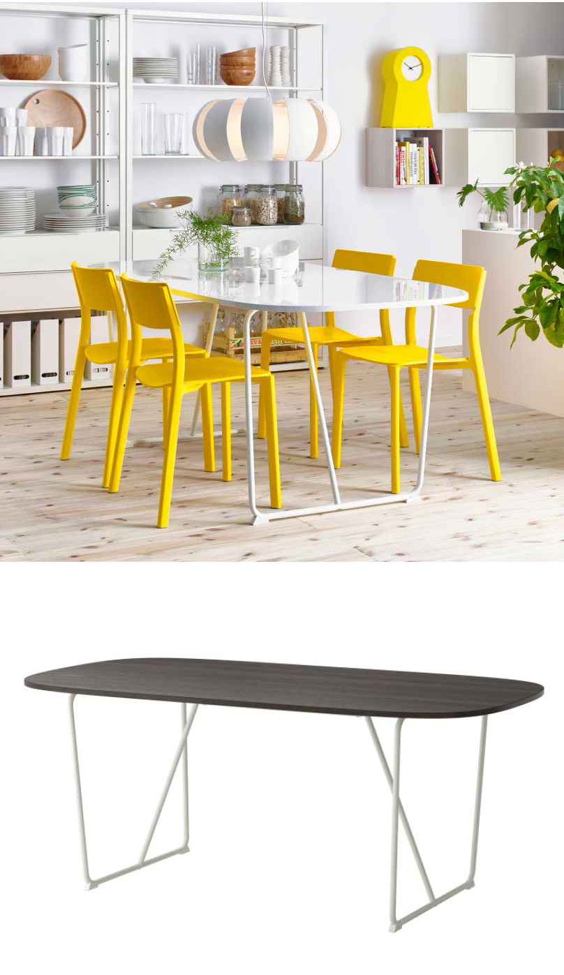 Oppeby Table White Backaryd High Gloss White Dining