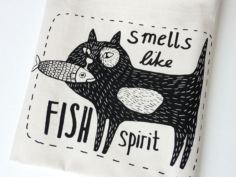 Bolsa de tela, gato - accesorios y decoración para el hogar - hecho a mano - en DaWanda.es