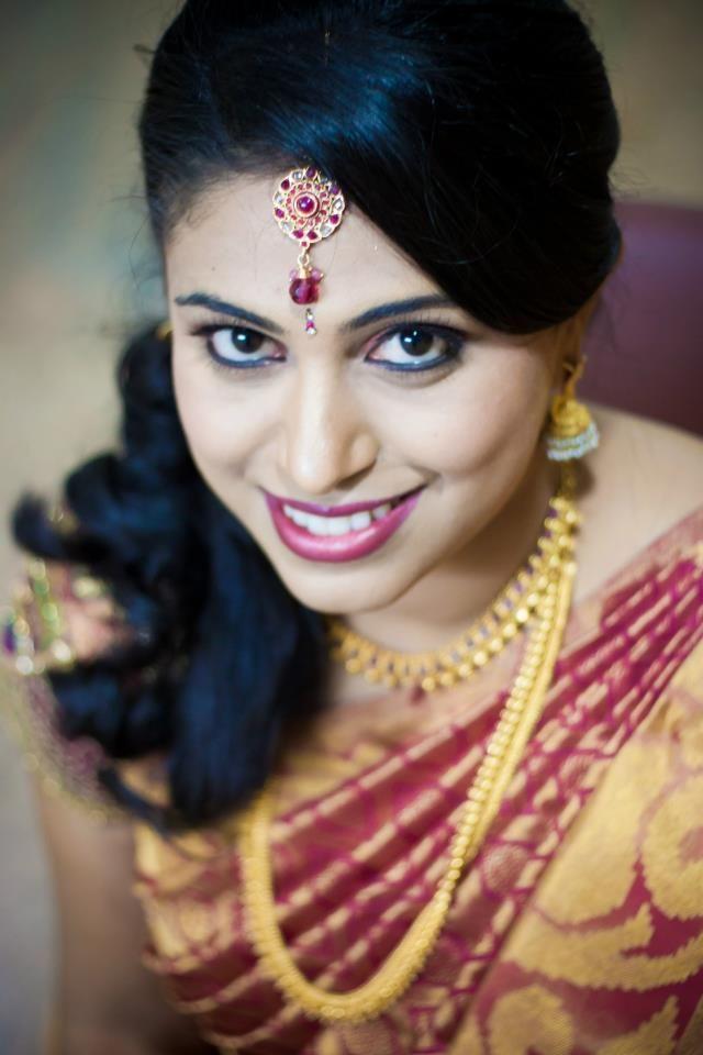 South Indian bride   bridal makeup, saree and jewellery