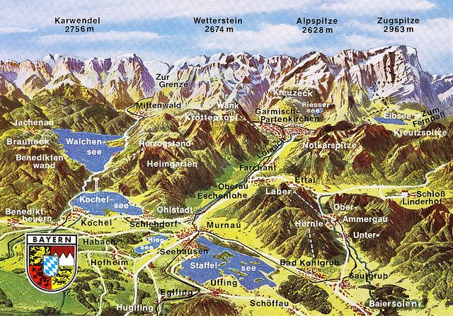Bavarian Alps Map Card | Wanderlust | Alps, Germany und Mountains