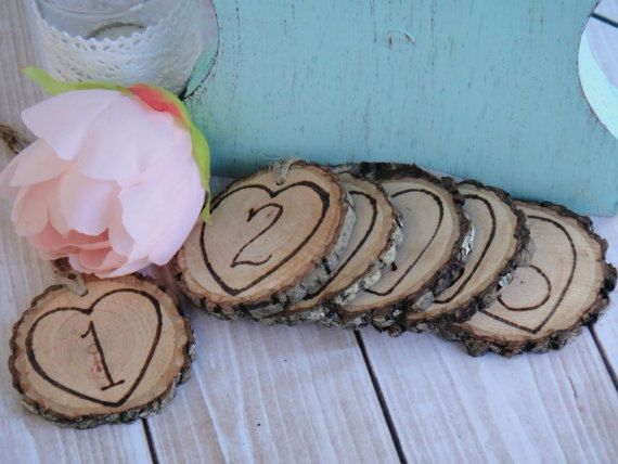 Hand Engraved Heart Rustic Wood Slice Table Numbers by PNZdesigns, $20.00