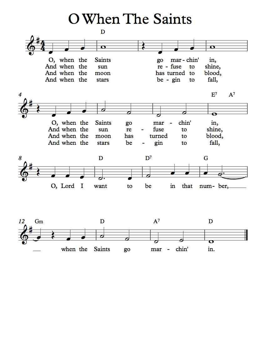 Free Sheet Music - Free Lead Sheet - O When The Saints Go Marchin' In - African American Spiritual