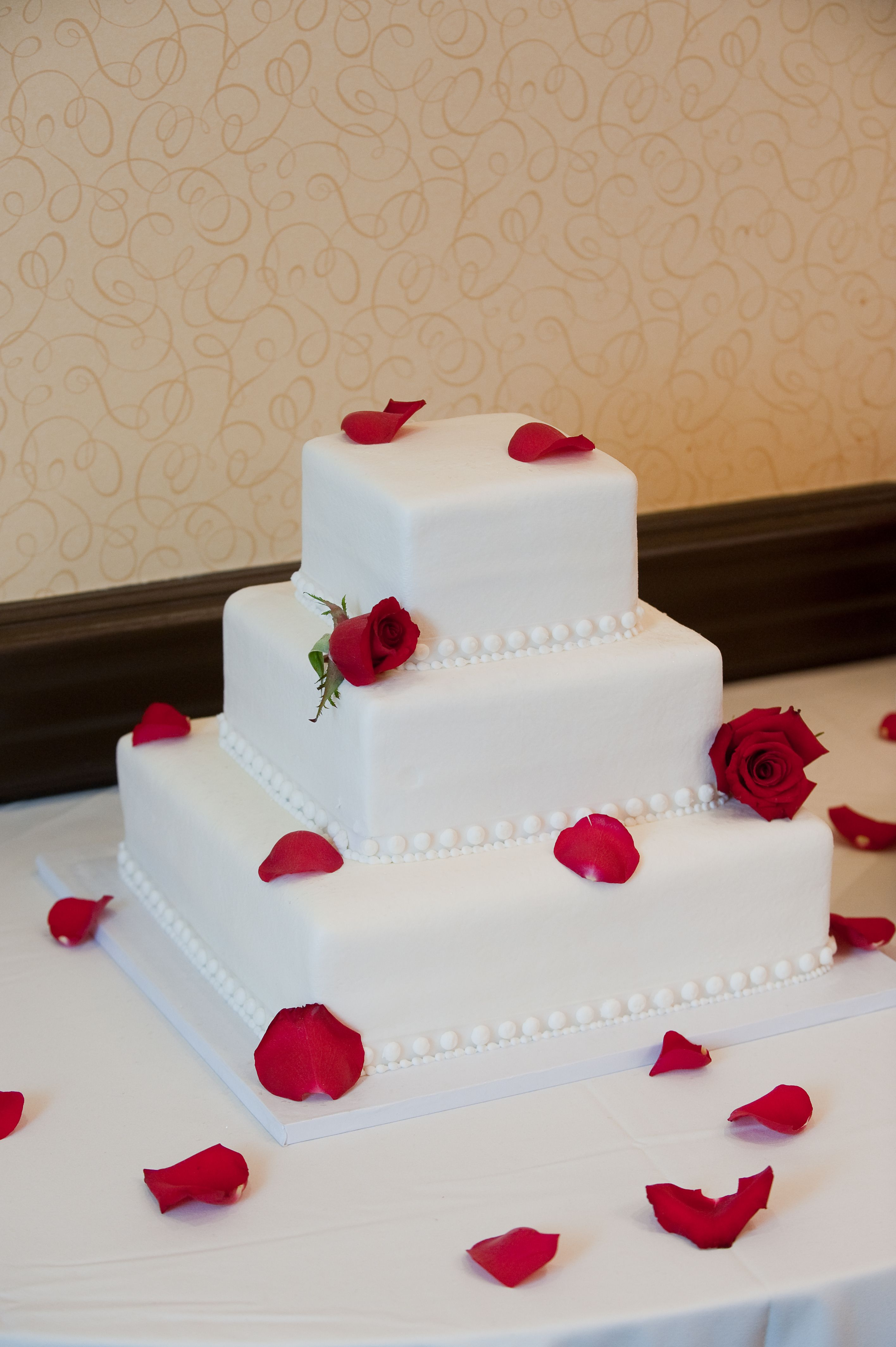 Our vanilla and red velvet wedding cake from Cakes Plus Bakery in ...