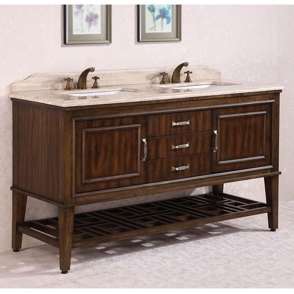 Legion Furniture Travertine Top 65 Inch Double Sink Bathroom