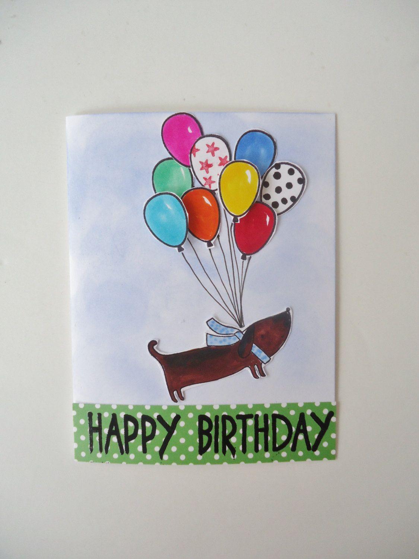 Happy Birthday Handmade Greeting Card Balloons A Cute Puppy Dog