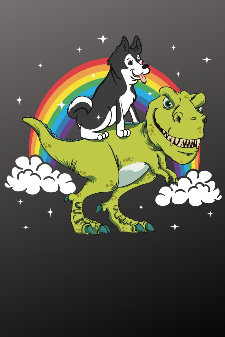 Cute Husky Puppy Riding On A Tyrannosaurus Rex T Rex