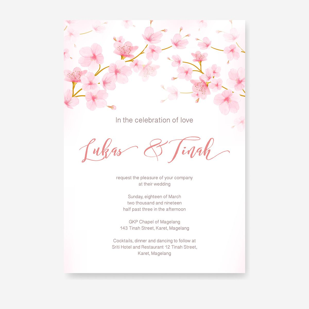 Watercolor Floral Cherry Blossom Frame Vector On Behance Matrimonio
