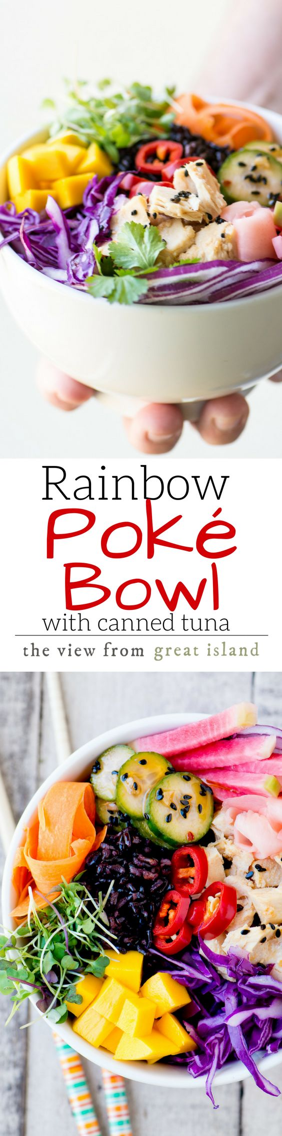 Rainbow Poke Bowl with canned tuna ~ you can have this colorful and healthy Hawaiian favorite any time, anywhere, without having to source sushi grade raw fish ~ it's a win win! |Genova tuna | Buddha bowls | Grain bowls | Black rice | Rice bowls | Hawaiian recipes | lunch | main course | paleo | gluten free |