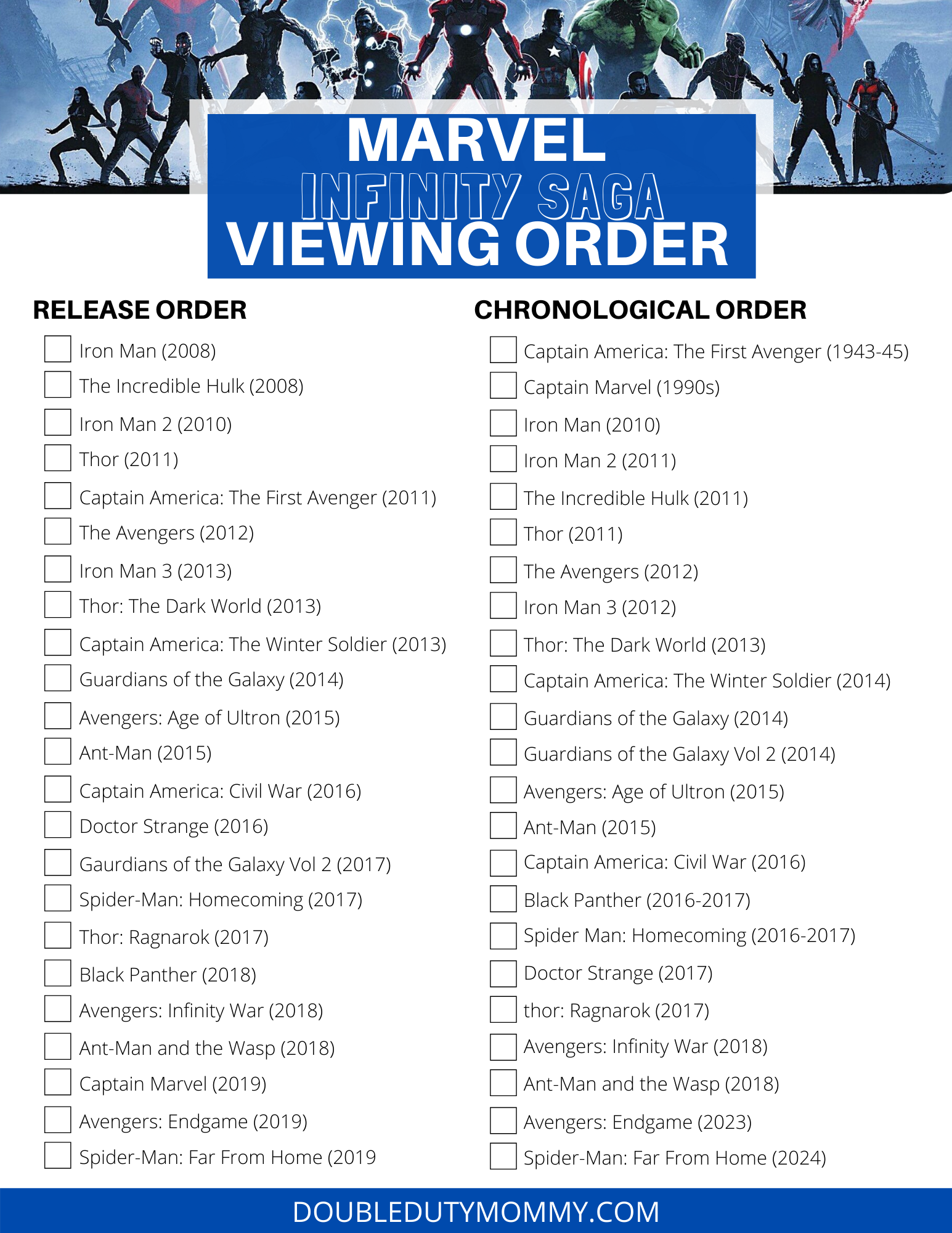 Catch up on all your favorite Marvel movies while you're stuck at home. Be sure to check out this list of Marvel movies listed in both release order and chronological order for the best experience. #marvel #spiderman #farfromhome #avengers