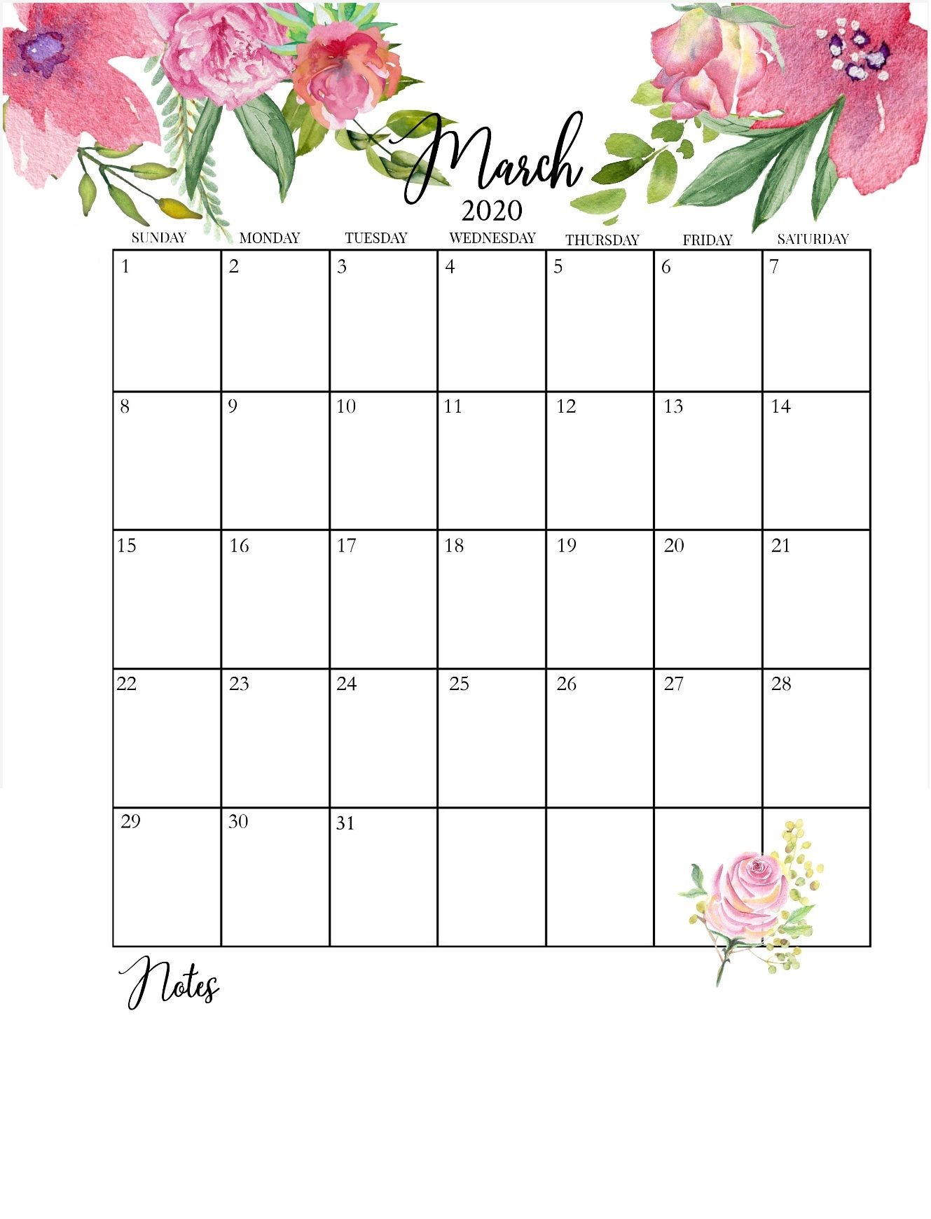 Floral 2020 Calendar Printable In 2020 Calendar Printables
