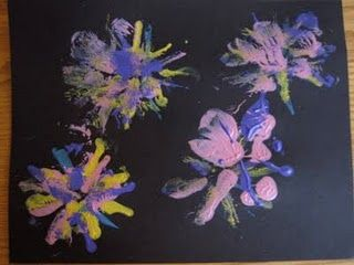 Puffy paint firework stamping...
