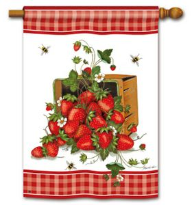 Strawberry Basket Decorative Flags Flag Fables Flag Decor Summer Garden Flags Strawberry Garden