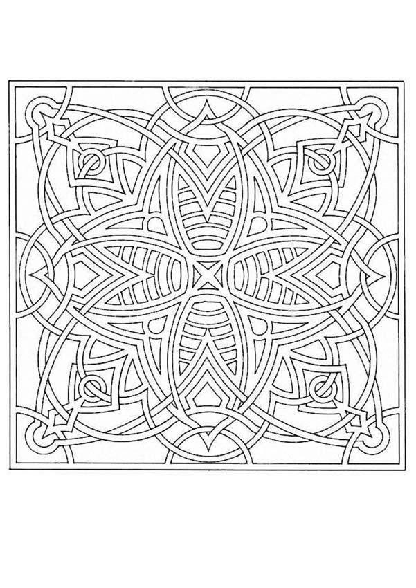 Mandala carré et géométrique avec une jolie fleur à colorier ...