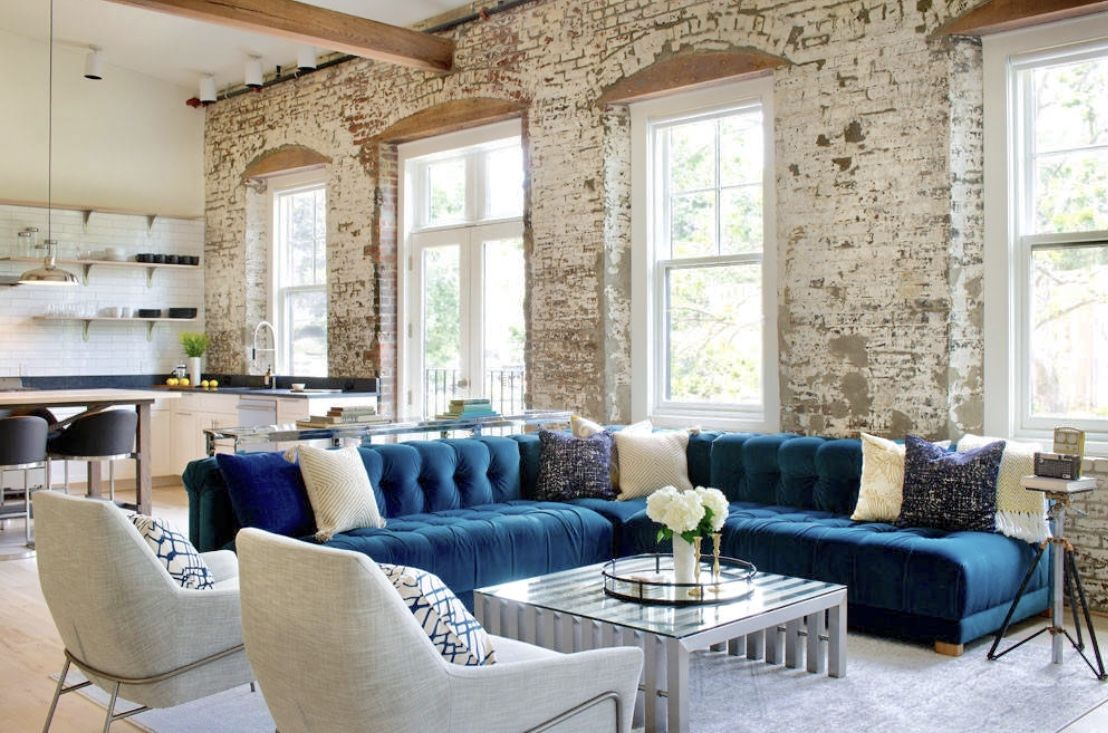Industrial Style Modern Loft Living Room Decor With Teal Sofa
