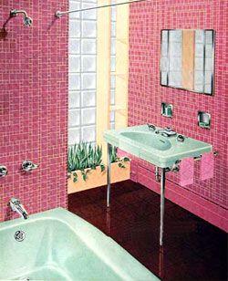 Pink Vintage Bathroom With Metal Legged Pedestal Basin Retro