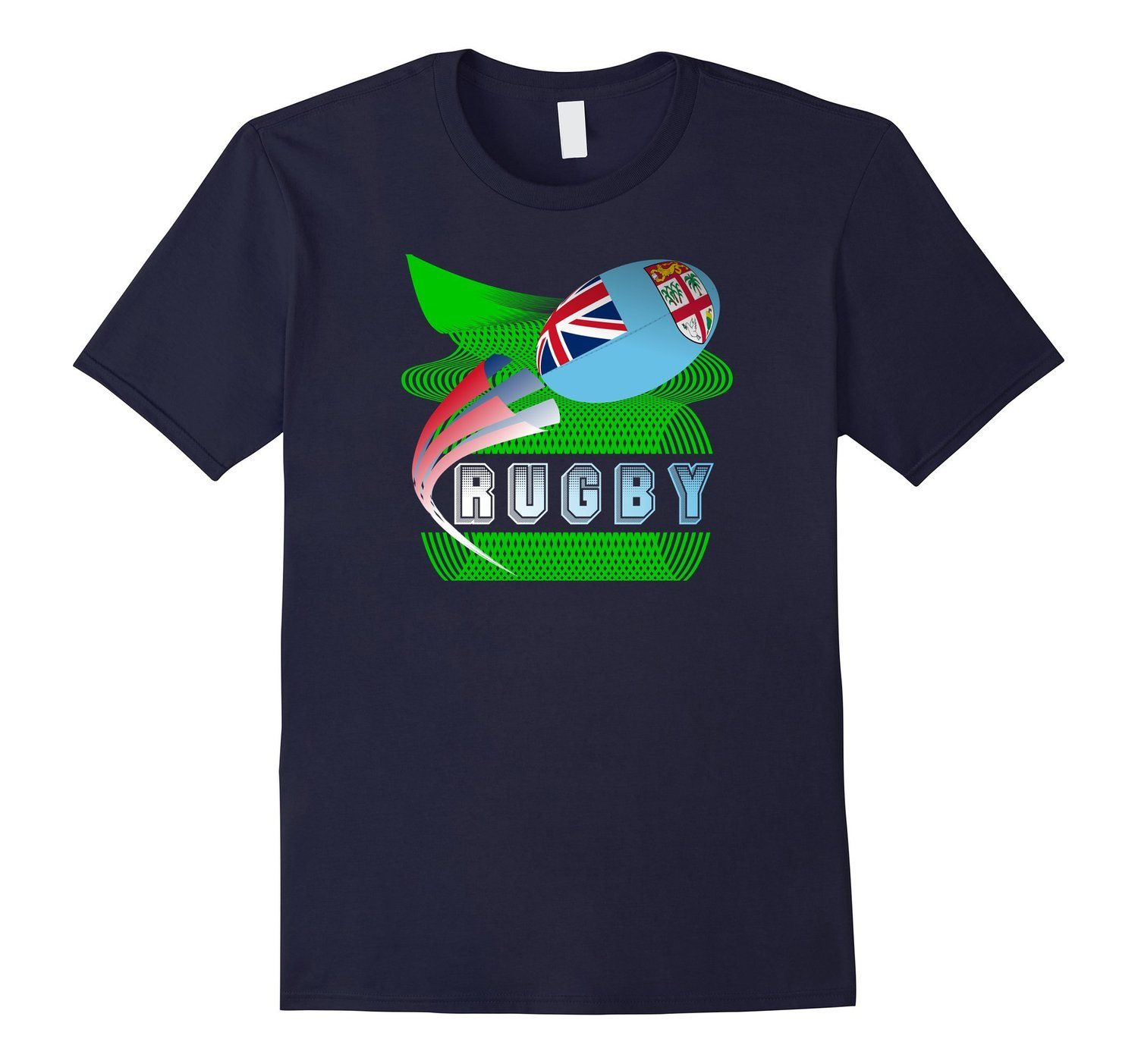New style ‪#‎Fiji‬ ‪#‎Rugby7s‬ ‪#‎tshirt‬ National Flag Rugby Ball on a field of green Rugby in 3D text http://amzn.to/1ZOHl7C