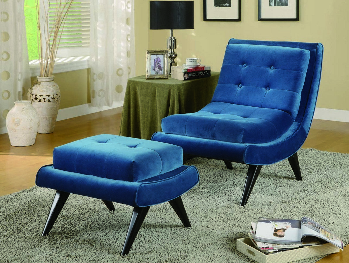 Sensational Armen Living 5Th Avenue Ottoman Cerulean Blue Fabric Ocoug Best Dining Table And Chair Ideas Images Ocougorg
