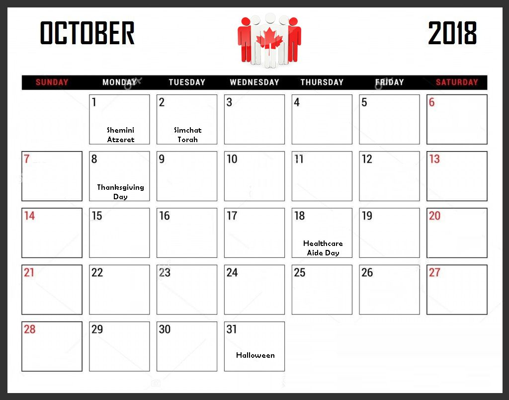 October 2018 Calendar Canada Holiday Planner Holiday Planner