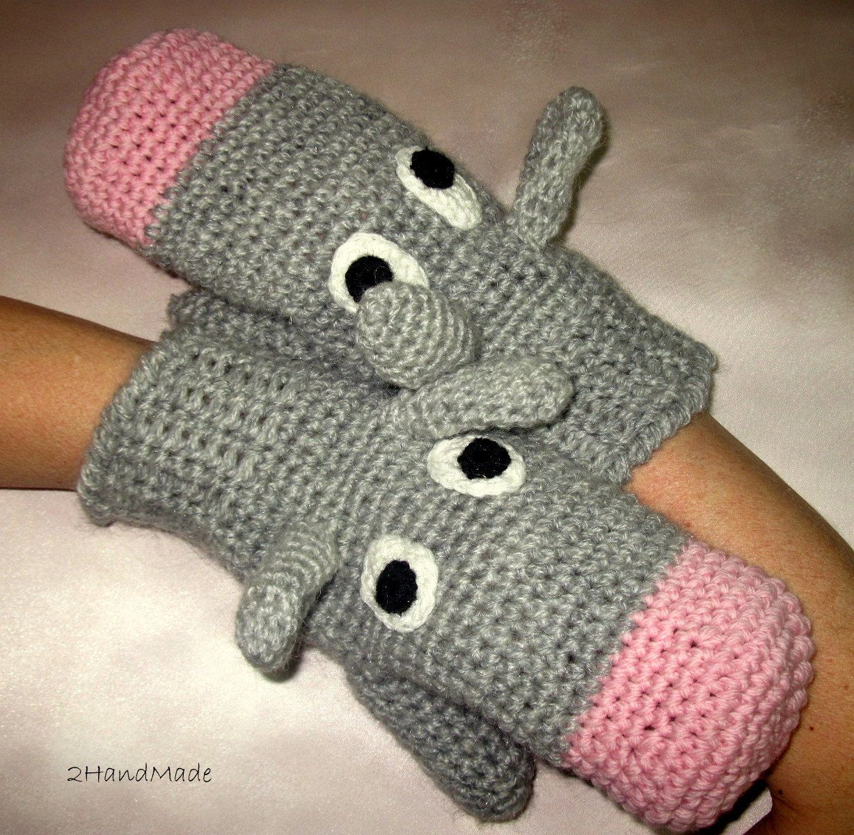Funny Chunky Crochet Gloves Mittens Animal Puppets Donkey Ass Unisex Boy Girl Teens Women Men Angora Sheep Wool Gray Grey Pink Hand Warmer