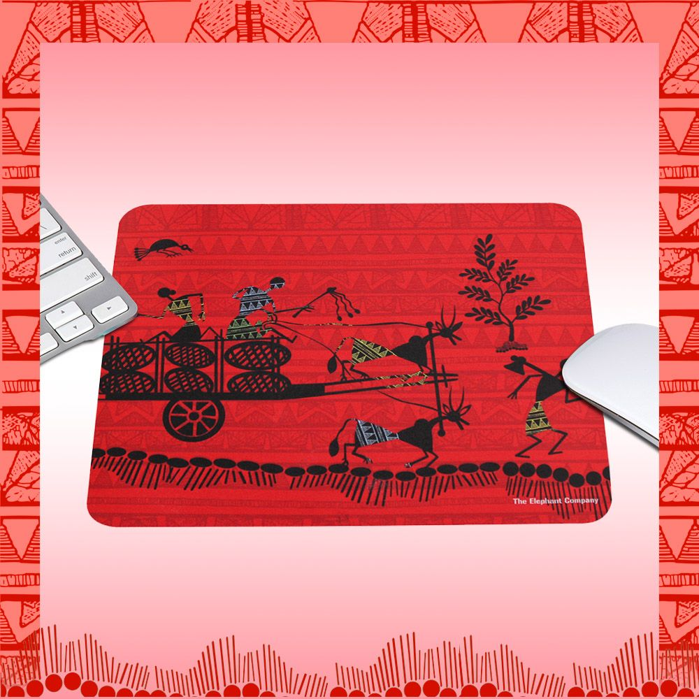Cart Warli Red Mousepad by The Elephant Company