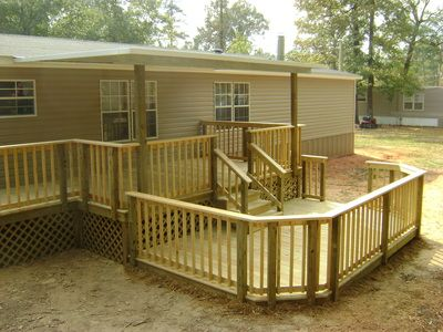 Multi level wood deck and cover for mobile or manufactured for Wooden porches for mobile homes