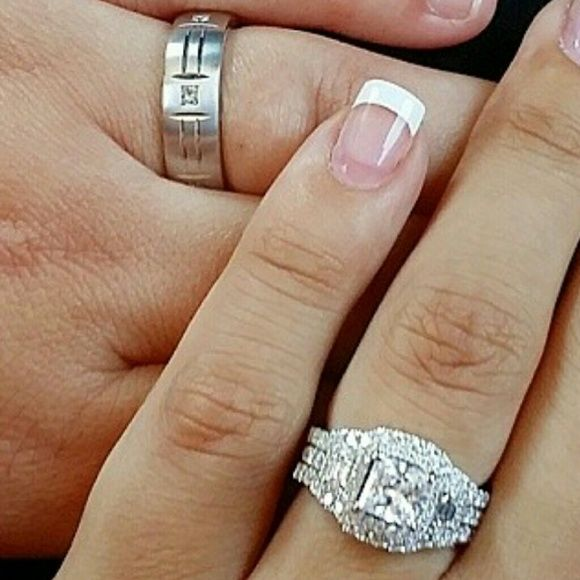 Engagement ring and Wedding bands 18k white gold women s diamond