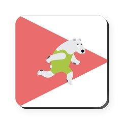 Running Polar Bear Triangle Arrow Cork Coaster
