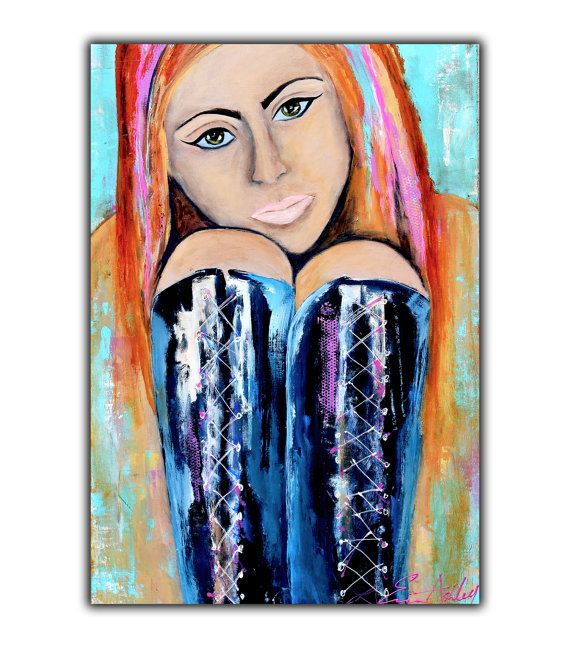 Original Painting, Abstract girl Painting on wood, 24x36 PAINTING contemporary wall art